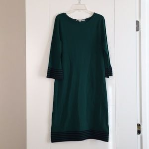 Boden Knit Teal Dress with Flared Sleeves Sz 6